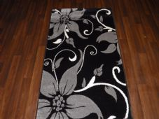 Modern Rug Approx 5x2ft6 80cmx150cm Woven Thick best around Silver/Black Lily